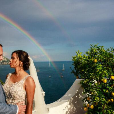 Positano wedding rainbow